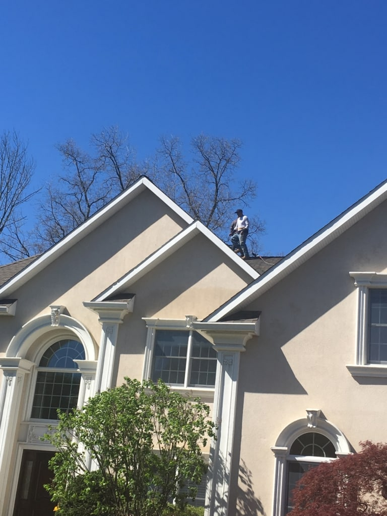Roof Cleaning of a House in Mahwah by Superior Seamless Gutters