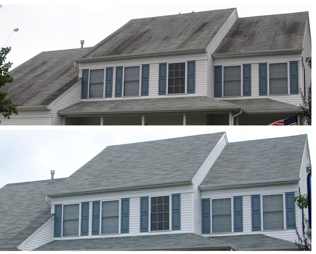 roof cleaning before and after photos