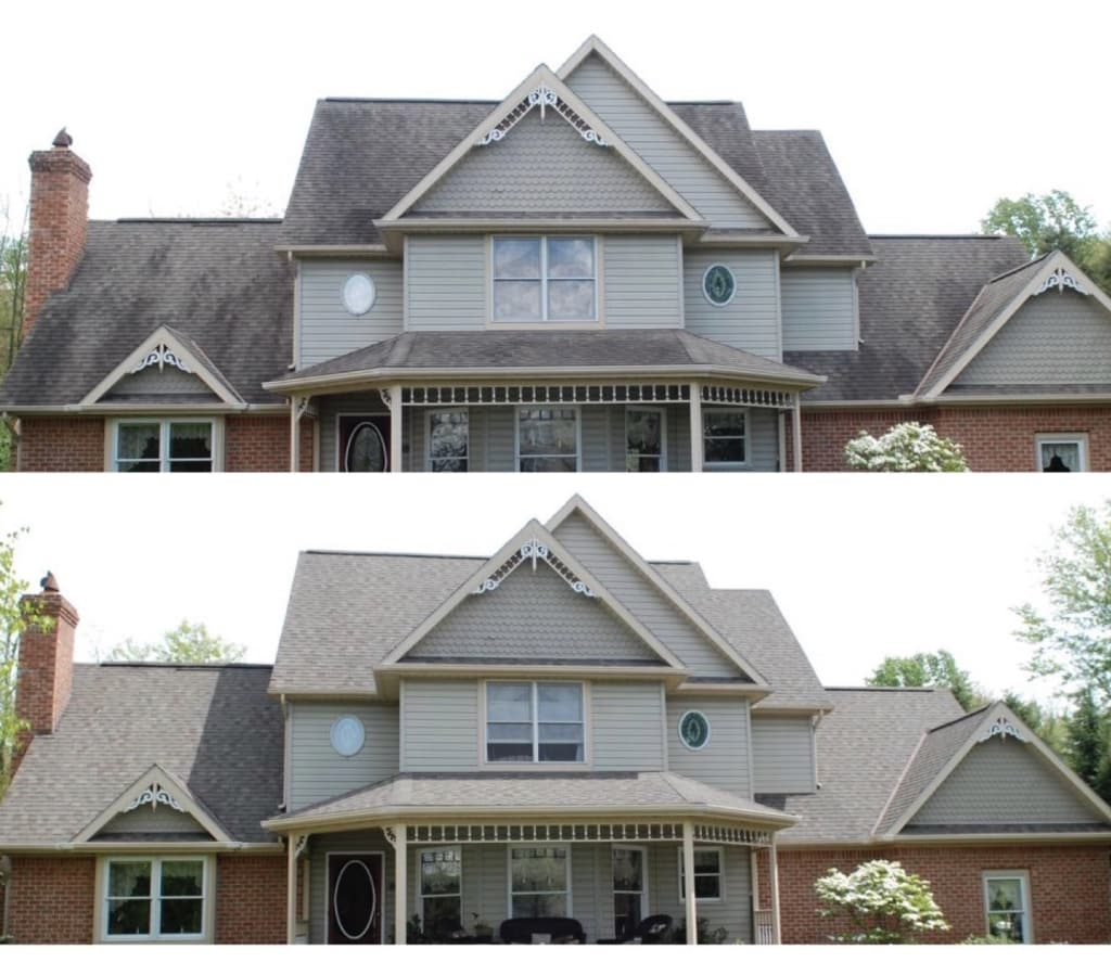 roof cleaning before and after photo