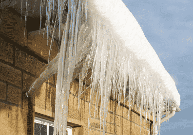 ice damming on house gutters